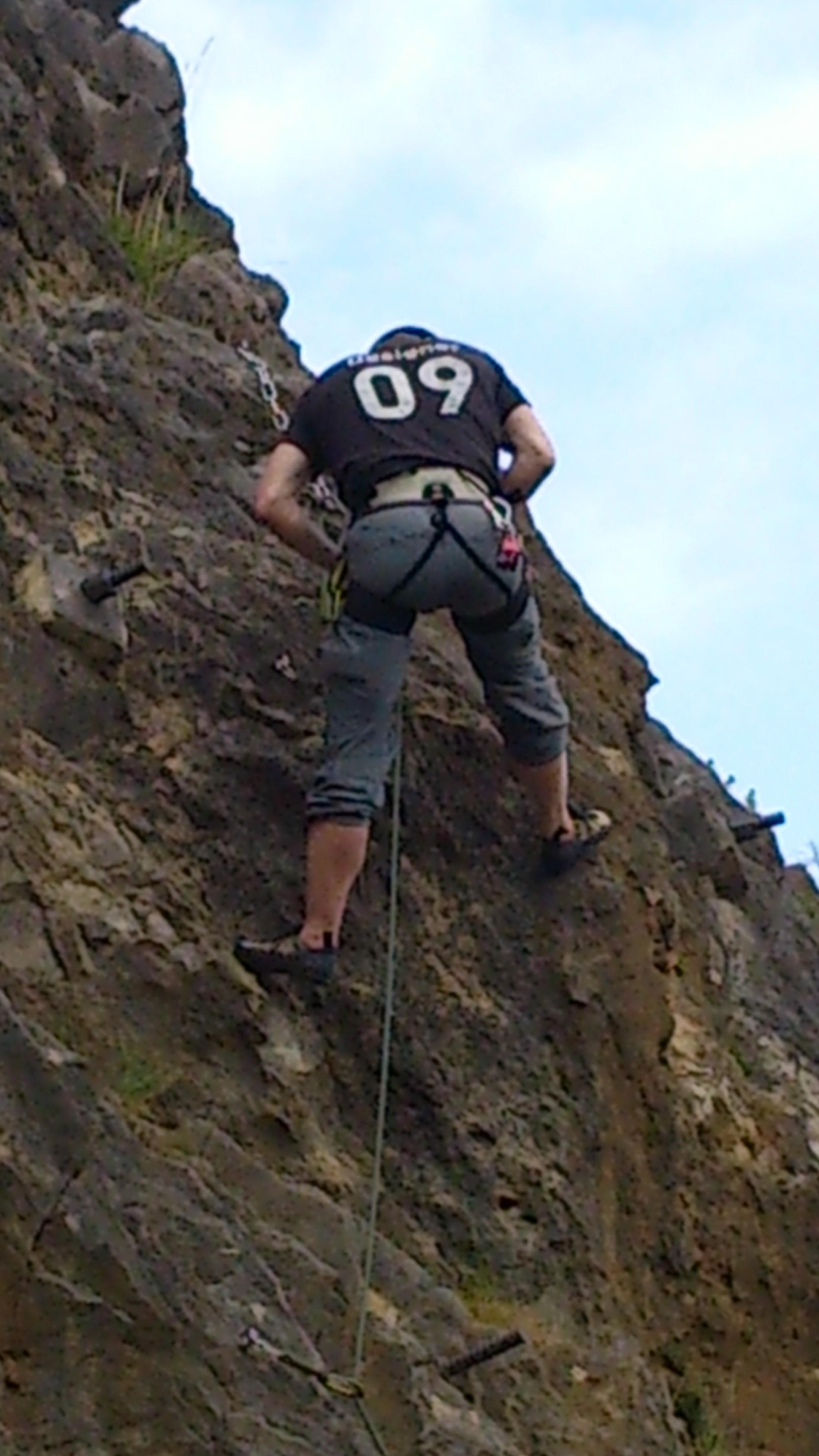 Ich beim Klettern