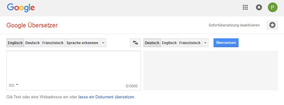 Screenshot des Translators